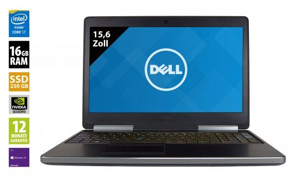 Dell Precision 7510 - 15,6 Zoll - Core i7-6820HQ @ 2,7 GHz - 16GB RAM - 250GB SSD - Nvidia Quadro M2000M - FHD (1920x1080) - Webcam - Win10Pro