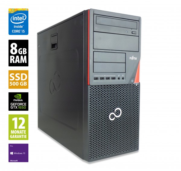 Gaming PC - Fujitsu Esprimo P920 MT - Core i5-4590 @ 3,3 GHz - 8GB RAM - 500GB SSD - DVD-RW - Nvidia GTX 1650 - Win10Pro
