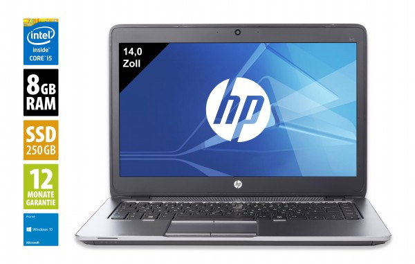 HP EliteBook 840 G2 - 14,0 Zoll - Core i5-5300U @ 2,3 GHz - 8GB RAM - 250GB SSD - WXGA (1366x768) - Webcam - Win10Home