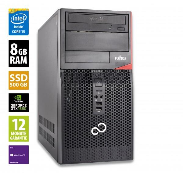 Gaming PC - Fujitsu Esprimo P520 MT - Core i5-4570 @ 3,2 GHz - 8GB RAM - 500GB SSD - DVD-ROM - Nvidia GTX 1650 - Win10Pro