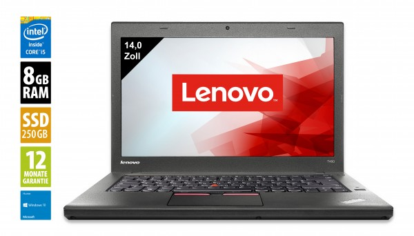 Lenovo ThinkPad T450 - 14,0 Zoll - Core i5-5300U @ 2,3 GHz - 8GB RAM - 250GB SSD - WXGA (1366x768) - Webcam - Win10Home