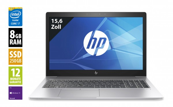 HP EliteBook 850 G5 - 15,6 Zoll - Core i7-8550U @1,8 GHz - 8GB RAM - 250GB SSD - FHD (1920x1080) - Webcam - Win10Pro