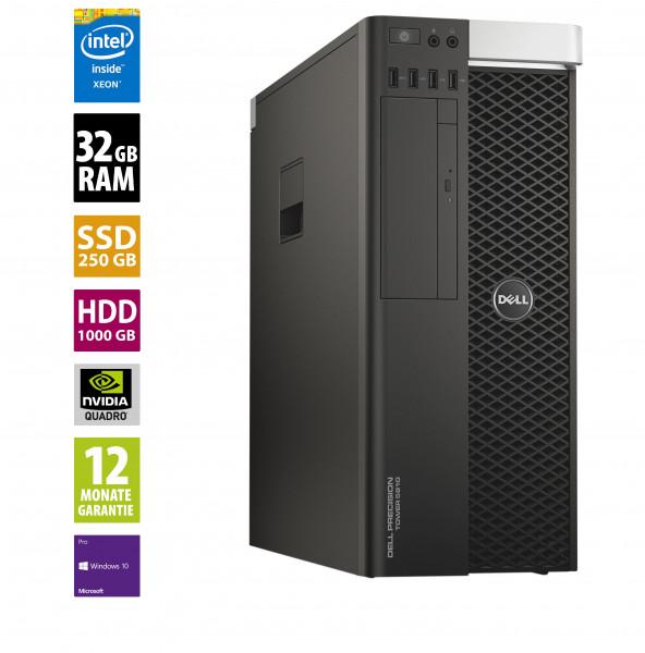 Dell Precision T5810 - Xeon E5-1650 v3 @ 3,5 GHz - 32GB RAM - 250GB SSD - 1000GB HDD - DVD-RW - Nvidia Quadro M4000 - Win10Pro