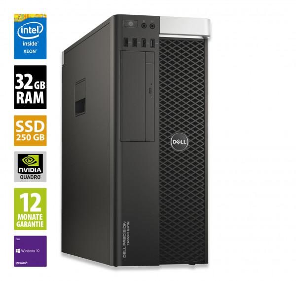 Dell Precision T5810 - Xeon E5-1650 v4 @ 3,6 GHz - 32GB RAM - 250GB SSD - DVD-ROM - Nvidia Quadro M2000 - Win10Pro