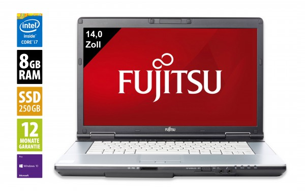 Fujitsu LifeBook S751 - 14,0 Zoll - Core i7-2640M @ 2,8 GHz - 8GB RAM - 250GB SSD - DVD-RW - WXGA (1366x768) - Webcam - Win10Pro