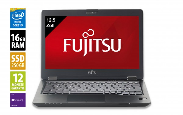 Fujitsu LifeBook U728 - 12,5 Zoll - Core i5-7300U @ 2,6 GHz - 16GB RAM - 250GB SSD - WXGA (1366x768) - Webcam - Win10Pro - Inkl. Port-Replikator
