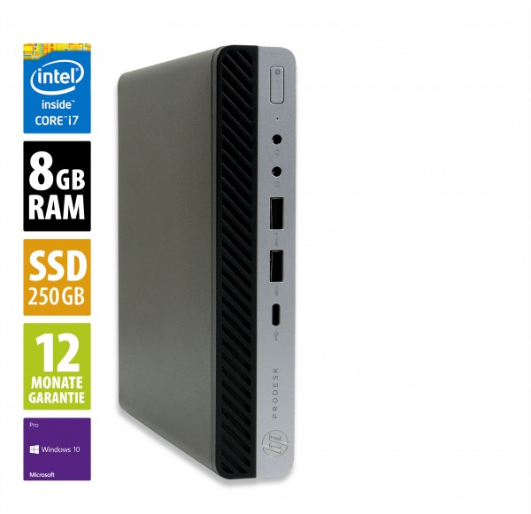 HP ProDesk 600 G3 Mini PC - Core i7-7700T @ 2,9 GHz - 8GB RAM - 250GB SSD - Win10Pro