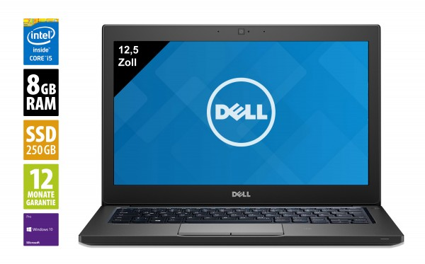Dell Latitude 7290 - 12,5 Zoll - Core i5-8350U @ 1,7 GHz - 8GB RAM - 250GB SSD - WXGA (1366x768) - Webcam - Win10Pro