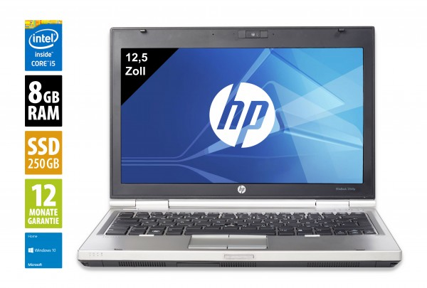 HP Elitebook 2560p - 12,5 Zoll - Core i5-2540M @ 2,6 GHz - 8GB RAM - 250GB SSD - DVD-RW - WXGA (1366x768) - Webcam - Win10Home