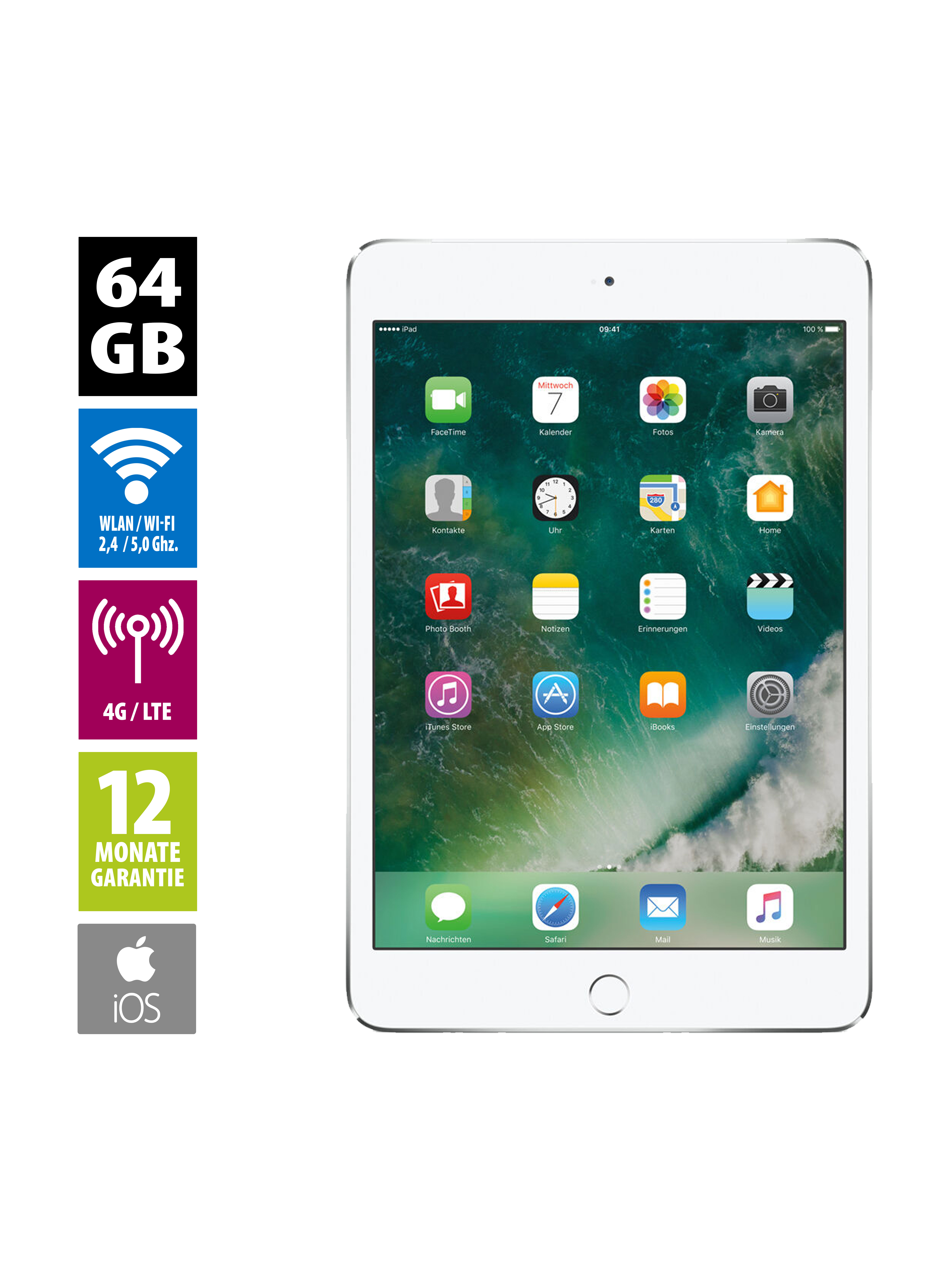 Flot Apple iPad mini 4 Wi-Fi + Cellular (64GB) - silver   AfB social VG-47