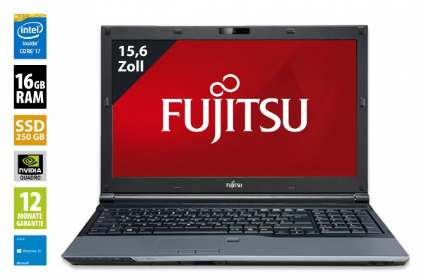 Fujitsu Celsius H720 - 15,6 Zoll - Core i7-3720QM @ 2,6 GHz - 16GB RAM - 250GB SSD - DVD-RW - Nvidia Quadro K1000M -  FHD (1920x1080) - Webcam - Win10Home