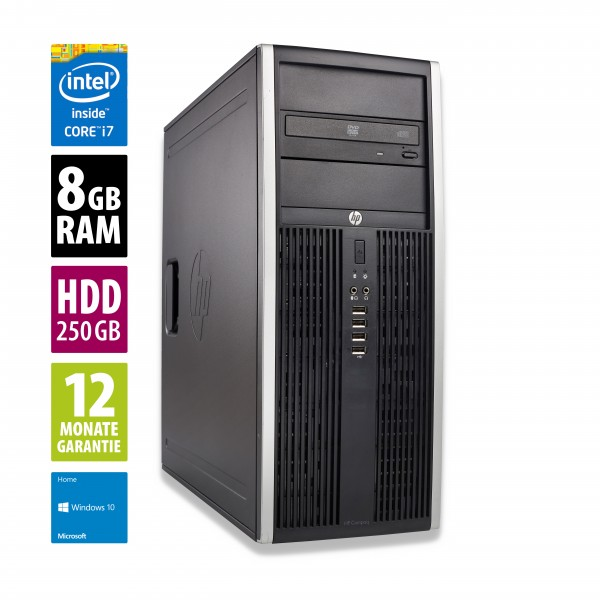 HP Elite 8200 CMT - Core i7-2600 @ 3,4 GHz - 8GB RAM - 250GB HDD - DVD-RW - Win10Home