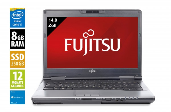 Fujitsu LifeBook S782 - 14,0 Zoll - Core i7-3540M @ 3.0 GHz - 8GB RAM - 250GB SSD - DVD-RW - WXGA (1366x768) - Webcam - Win10Home
