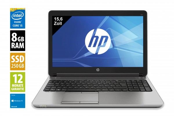 HP ProBook 650 G1 - 15,6 Zoll - Core i5-4300M @ 2,6 GHz - 8GB RAM - 250GB SSD - WXGA (1366x768) - Win10Home
