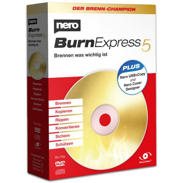 Nero Burn Express 5 - Vollversion - Brenn-Software - 1 Windows Lizenz