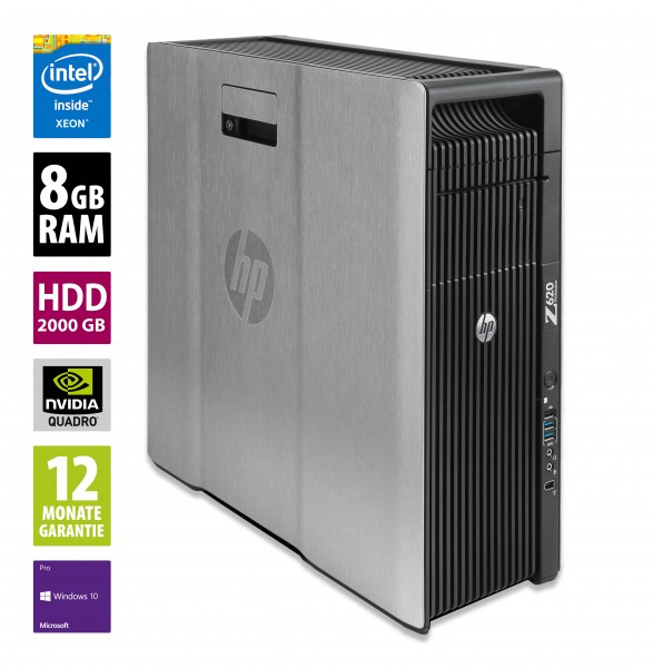 HP Workstation Z620 - Xeon E5-2609 v2 @ 2,5 GHz - 8GB RAM - 2000GB HDD - DVD-RW - Nvidia Quadro K2000 - Win10Pro
