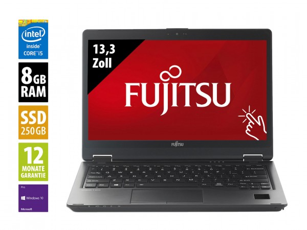 Fujitsu LifeBook P728 - 12,5 Zoll - Core i5-8350U @ 1,7 GHz - 8GB RAM - 250GB SSD - FHD (1920x1080) - Touch - Webcam - Win10Pro - Inkl. Port-Replikator