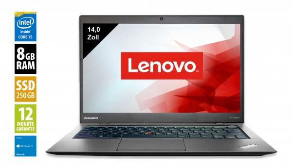 Lenovo ThinkPad X1 Carbon - 14,0 Zoll - Core i5-4300U @ 1,9 GHz - 8GB RAM - 250GB SSD - WSXGA (1600x900) - Webcam - Win10Home