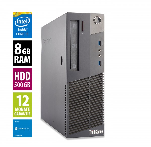 Lenovo ThinkCentre M93p SFF - Core i5-4570 @ 3,2 GHz - 8GB RAM - 500GB HDD - DVD-RW - Win10Home