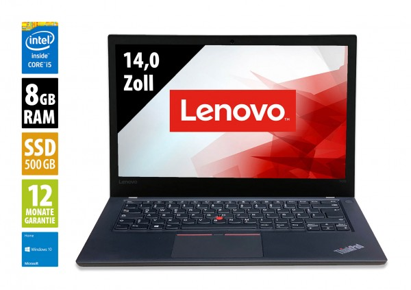 Lenovo ThinkPad T470 - 14,0 Zoll - Core i5-7300U @ 2,6 GHz - 8GB RAM - 500GB SSD - FHD (1920x1080) - Webcam - Win10Home