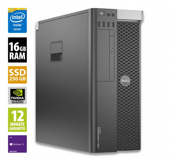 Dell Precision T5610 - Xeon E5-2637v2 @ 3,5 GHz - 16GB RAM - 250GB SSD - DVD-RW - Quadro K4000 - Win10Pro