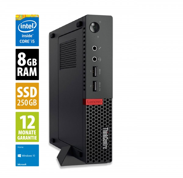 Lenovo ThinkCentre M910q USFF- Core i5-7500T @ 2,7 GHz - 8GB RAM - 250GB SSD - Win10Home