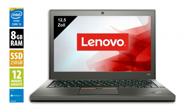 Lenovo ThinkPad X250 - 12,5 Zoll - Core i5-5300U @ 2,3 GHz - 8GB RAM - 250GB SSD - WXGA (1366x768) - Webcam - Win10Home