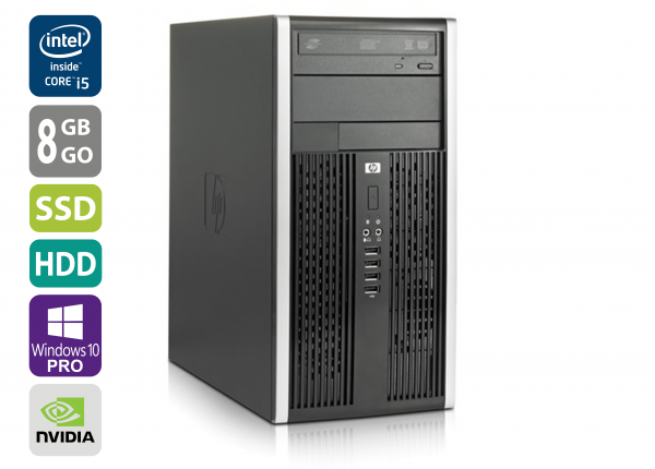 Gaming PC - HP 6200 Pro MT - Core i5-2500 @ 3,3 GHz - 8GB RAM - 1000GB HDD - 250GB SSD - DVD-RW - Nvidia GTX 1050 - Win10Pro