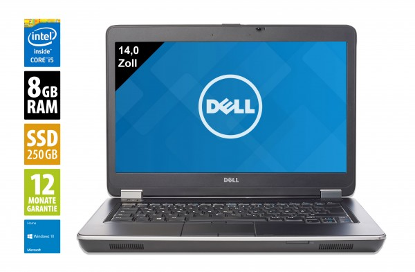 Dell Latitude E6440 - 14,0 Zoll - Core i5-4310M @ 2,7 GHz - 8GB RAM - 250GB SSD - DVD-RW - WSXGA (1600x900) - Webcam - Win10Home