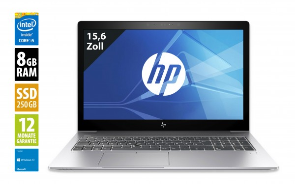 HP EliteBook 850 G5 - 15,6 Zoll - Core i5-8350U @1,7 GHz - 8GB RAM - 250GB SSD - FHD (1920x1080) - Webcam - Win10Home