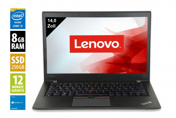 Lenovo ThinkPad T460 - 14,0 Zoll - Core i5-6300U @ 2,4 GHz - 8GB RAM - 250GB SSD - WXGA (1366x768) - Webcam - Win10Home