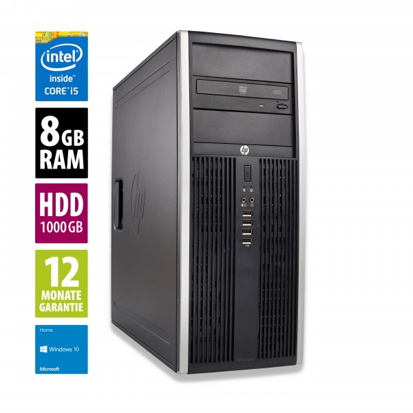 HP Elite 8200 CMT - Core i5-2400 @ 3,1 GHz - 8GB RAM - 1000GB HDD - DVD-ROM - Win10Home