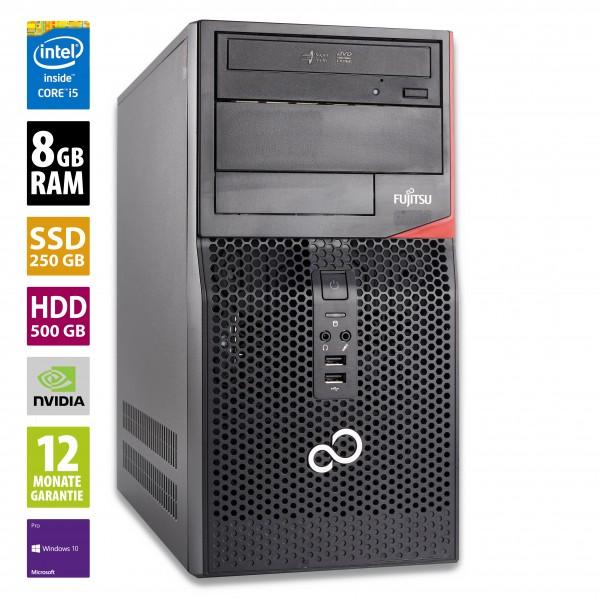 Gaming PC Fujitsu Esprimo P410 - Core i5-3330 @ 3,0 GHz - 8GB RAM - 500GB HDD - 250GB SSD - DVD-RW - Nvidia GTX1050 - Win10Pro