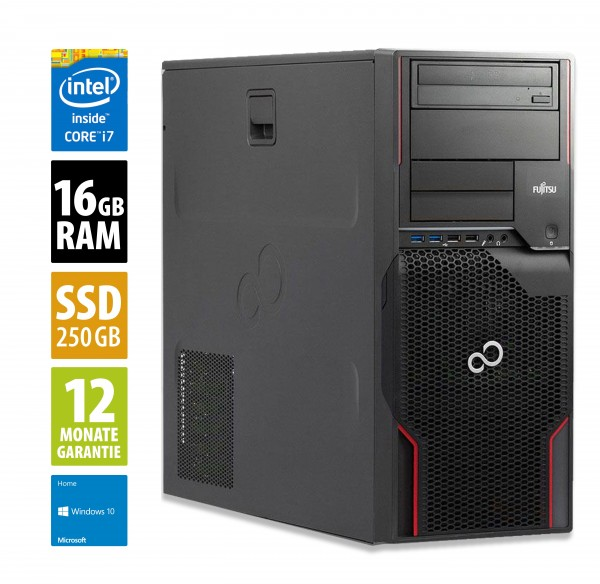 Fujitsu Celsius W420 MT - Core i7-3770 @ 3,4 GHz - 16GB RAM - 250GB SSD - DVD-ROM - Win10Home