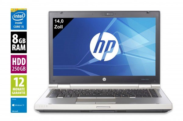 HP EliteBook 8460p - 14,0 Zoll - Core i5-2520M @ 2,5 GHz - 8GB RAM - 250GB HDD - DVD-RW - WXGA (1366x768) - Webcam - Win10Home