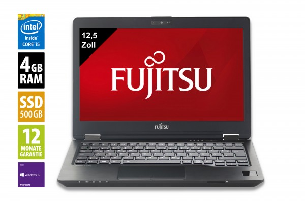 Fujitsu LifeBook U727 - 12,5 Zoll - Core i5-6200U @ 2,3 GHz - 4GB RAM - 500GB SSD - WXGA (1366x768) - Webcam - Win10Pro - Inkl.Dockingstation