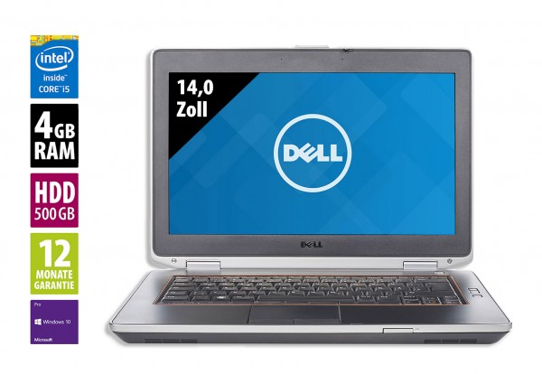 Dell Latitude E6420 - 14,0 Zoll - Core i5-2520M @ 2,5 GHz - 4GB RAM - 500GB HDD - DVD-RW - WSXGA (1600x900) - Win10Pro
