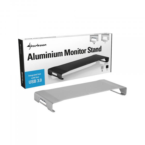 Sharkoon Aluminium Monitor Stand PRO inkl USB HUB - Silber
