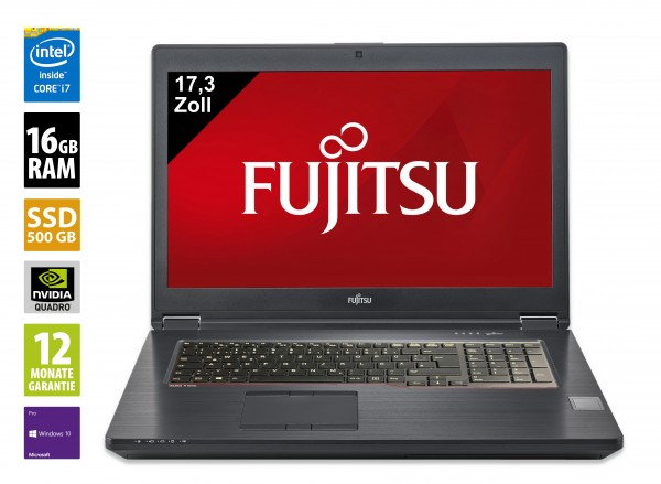 Fujitsu Celsius H970 - 17,3 Zoll - Core i7-7820HQ @ 2,9 GHz - 16GB RAM - 500GB SSD - FHD (1920x1080) - Nvidia Quadro P3000M - Webcam - Win10Pro