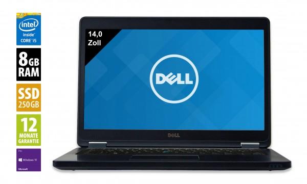 Dell Latitude E5450 - 14,0 Zoll - Core i5-5300U @ 2,3 GHz - 8GB RAM - 250GB SSD - FHD (1920x1080) - Webcam - Win10Pro