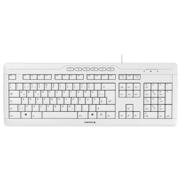 Cherry STREAM - Tastatur - kabelgebunden - Weiß / Grau