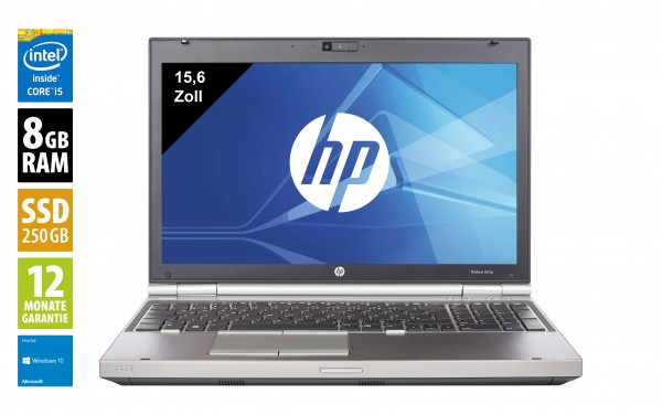 HP EliteBook 8570p - 15,6 Zoll - Core i5-3320M @ 2,6 GHz - 8GB RAM - 250GB SSD - DVD-RW - WXGA (1366x768) - Webcam - Win10Home