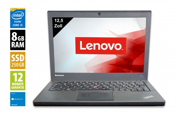 Lenovo ThinkPad X240 - 12,5 Zoll - Core i5-4300U @ 1,9 GHz - 8GB RAM - 250GB SSD - WXGA (1366x768) - Webcam - Win10Home
