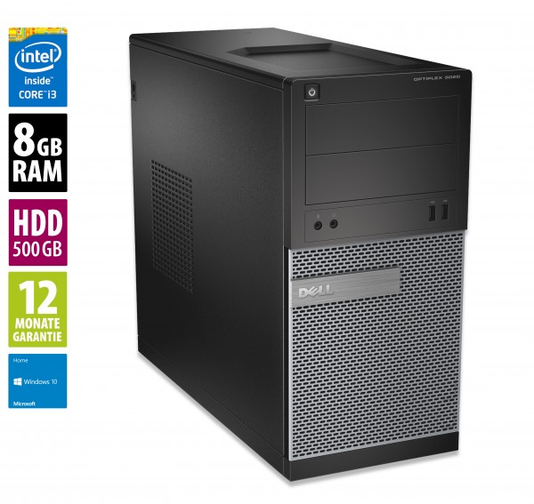 Dell OptiPlex 3020 MT - Core i3-4160 @ 3,6 GHz - 8GB RAM - 500GB HDD - DVD-RW - Win10Home