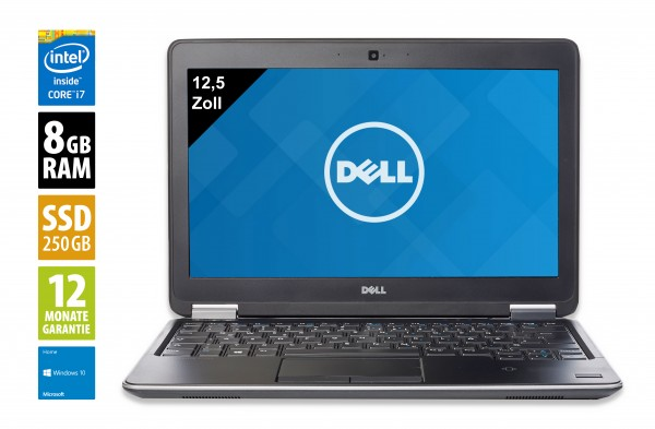 Dell Latitude E7240 - 12,5 Zoll - Core i7-4600U @ 2,1 GHz - 8GB RAM - 250GB SSD - WXGA (1366x768) - Webcam - Win10Home
