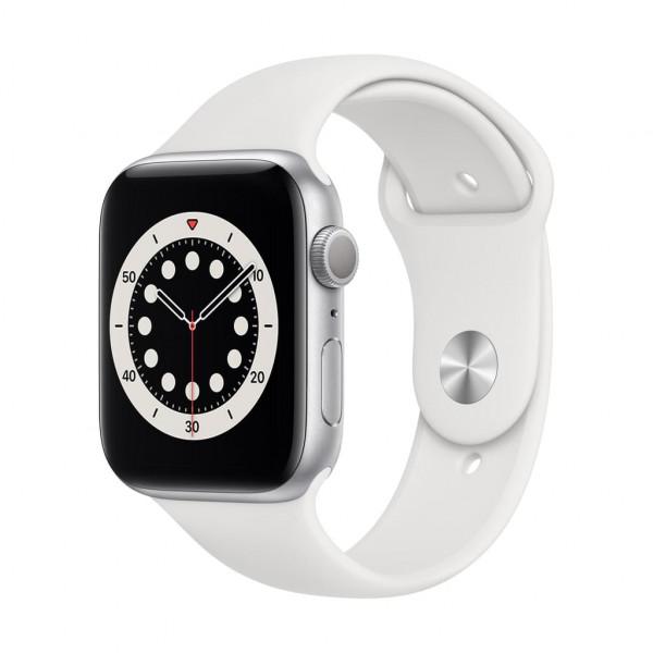 Apple Watch Series 6 (GPS) 44 mm - OLED - Touchscreen - 32 GB - Silber - Sportarmband weiß