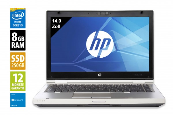 HP EliteBook 8470p - 14,0 Zoll - Core i5-3210M @ 2,5 GHz - 8GB RAM - 250GB SSD - DVD-RW - WXGA (1366x768) - Webcam - Win10Home