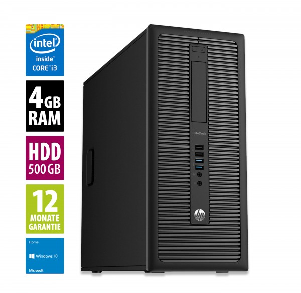 HP EliteDesk 800 G1 MT - Core i3-4130 @ 3,4 GHz - 4GB RAM - 500GB HDD - DVD-ROM - Win10Home