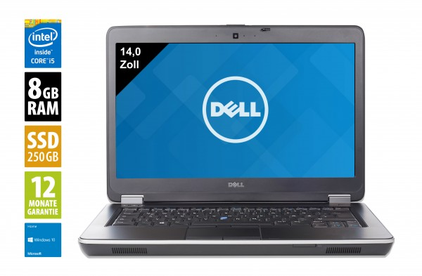 Dell Latitude E6440 - 14,0 Zoll - Core i5-4310M @ 2,7 GHz - 8GB RAM - 250GB SSD - DVD-RW - FHD (1920x1080) - Webcam - Win10Home