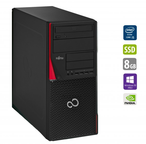 Gaming PC Fujitsu Esprimo P410 - Intel Core i5-3340 @ 3,1 GHz - 8GB RAM - 500GB HDD - 250GB SSD - DVD-RW - Nvidia GTX1050 - Win10Pro